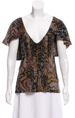 Elizabeth and James Printed V-Neck Blouse