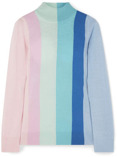 Dolly Striped Wool Turtleneck Sweater - Pastel pink