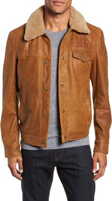 Schott NYC Vintage Buffalo Leather Trucker Jacket with Genuine Sheepskin Collar