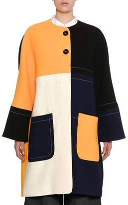 Marni Colorblock Two-Button Double-Face Crepe Coat
