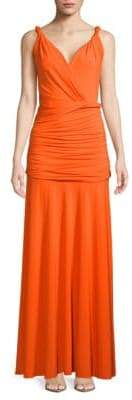 Halston Full-Length Shirred Grecian Dress
