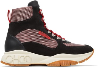 Jimmy Choo INCA/M Wash Red Mix Technical Mesh and Leather Mix Hi Top Trainer Style Boots