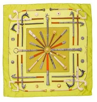 Hermes Cannes et Pommeaux Silk Pocket Square