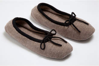 A & R Cashmere AR Cashmere Cashmere & Wool Slippers With Bow Detail