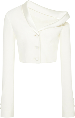 Classic Stretch Crepe Combo Crop Jacket