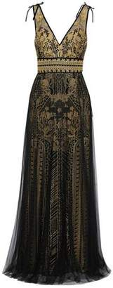 Marchesa Embellished Metallic Embroidered Tulle Gown