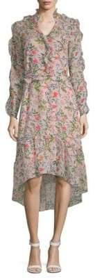 Julia Jordan Floral-Print Ruffled Hi-Lo Dress