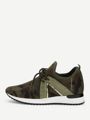 SheinShein Camouflage Print Lace-up Sneakers