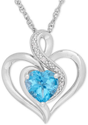 Macy's Blue Topaz (1-1/2 ct. t.w.) & Diamond Accent Heart Pendant Necklace in Sterling Silver