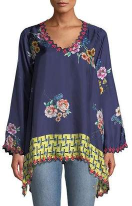 999bd65e144 Johnny Was Plus Size Dinah Silk Twill Floral-Print Long-Sleeve Blouse w