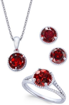 Macy's Rhodolite Garnet Rope-Style Pendant Necklace, Stud Earrings and Ring Set (5 ct. t.w.) in Sterling Silver