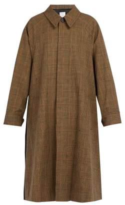 BEIGE Deveaux - Single Breasted Cotton Blend Tartan Coat - Mens