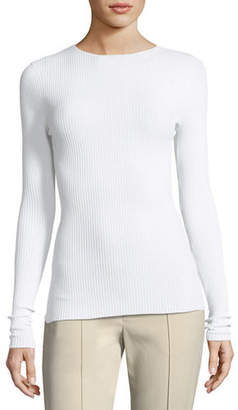 Vince Crewneck Long-Sleeve Ribbed Pullover Sweater