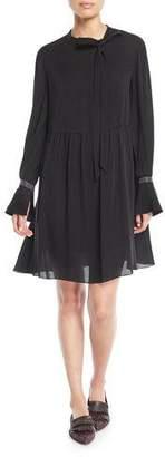 Brunello Cucinelli Tie-Neck Monili-Cuff Silk Babydoll Dress