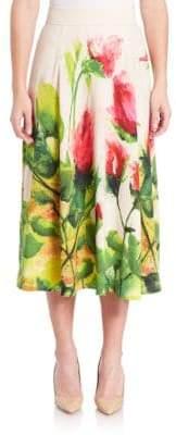 Escada Floral-Print Midi Skirt