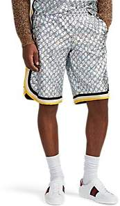 Gucci Men's Logo Laminated-Tech-Jersey Shorts - Silver