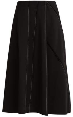 The Row - Laeha Contrast Stitch Stretch Crepe Skirt - Womens - Black