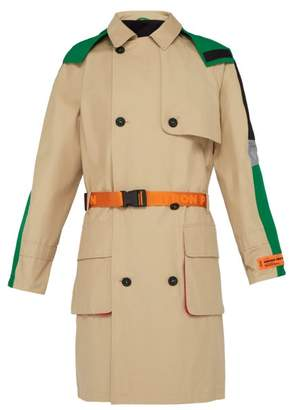 Heron Preston Belted Cotton Blend Trench Coat - Mens - Green Multi