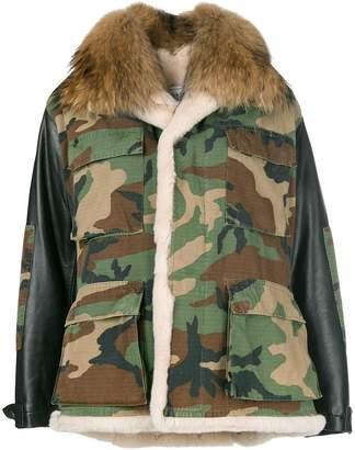 Couture Forte Dei Marmi camouflage fur collar jacket