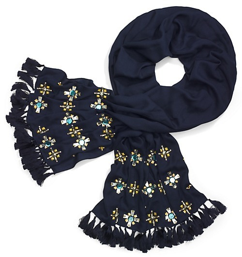 Tory Burch Jewel Embellished Scarf