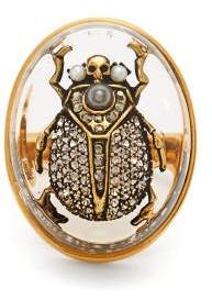 Alexander McQueen Scarab Pearl And Crystal Embellished Ring - Womens - Gold