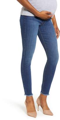 7 For All Mankind b(air) Frayed Hem Skinny Maternity Jeans