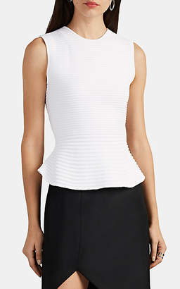 Narciso Rodriguez Women's Ribbed Scuba-Knit Peplum Top - White