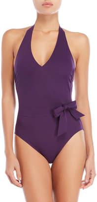 44153663a2 Gottex Aubergine Bow Halter One-Piece Swimsuit