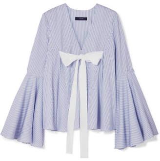 Ellery Deco Tie-detailed Striped Cotton-jacquard Top - Light blue