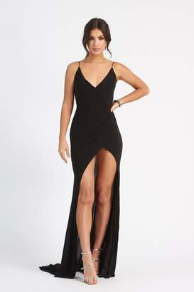 Club L Womens **Black Wrap Front Slinky Dress By Black