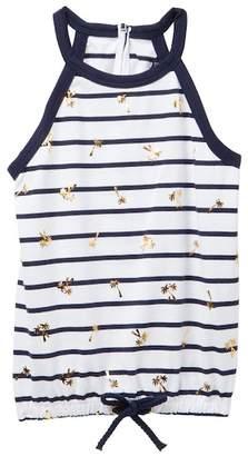 Nautica Stripe & Foil Palm Tree Print Tank Top (Little Girls)
