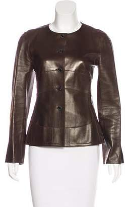 Chanel Leather Collarless Jacket