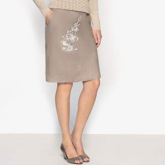 b217da88b3 Anne Weyburn Pure Linen Skirt with Floral Print