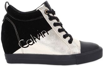 70mm Rory Metallic Canvas Wedge Sneakers $131 thestylecure.com