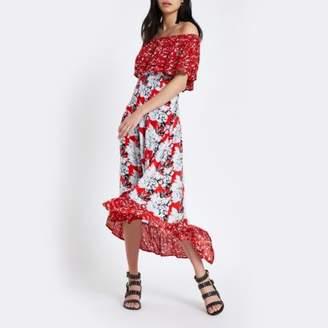 River Island Womens Red floral print bardot high low maxi dress