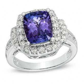 Zales Cushion-Cut Tanzanite and 7/8 CT. T.W. Diamond Ring in 14K White Gold