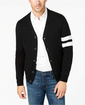 Club Room Men's Varsity Striped-Sleeve Cardigan, Created for Macy's