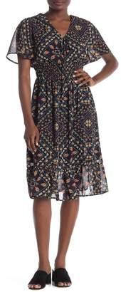 Everleigh Flutter Sleeve Printed Woven Dress