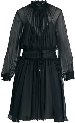 Chloé Smocked silk-crepon dress