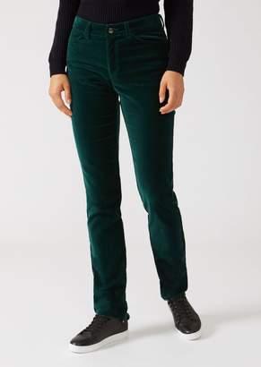 Emporio Armani Skinny Fit Five-Pocket Velvet Trousers