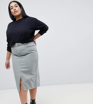 Asos Design Curve Denim Midi Skirt In Khaki