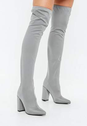Missguided Grey Pointed Neoprene Over The Knee Boots