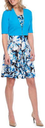 Perceptions Short Sleeve Tropical Floral Jacket Dress