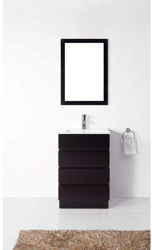 "Br.Uno Virtu Bruno 24"" Single Contemporary Bathroom Vanity Set with White Top and Mirror Base"