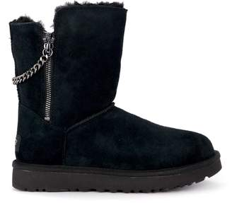 UGG Classic Short Sparkle Zip Black Suede Ankle Boots