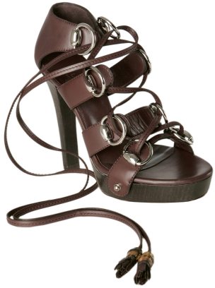Gucci brown  leather 'Ebony' lace-up platform sandals