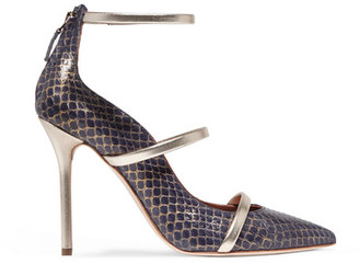 Malone Souliers - Metallic Leather-trimmed Elaphe Pumps - Navy $795 thestylecure.com