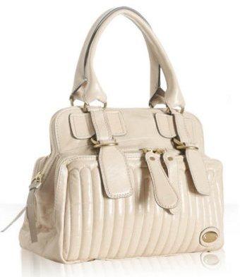 Chloe beige calfskin 'Bay' medium satchel