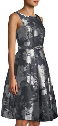 Eliza J Sleeveless Belted Floral Jacquard Dress