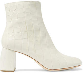 Loeffler Randall Cooper Snake-effect Leather Ankle Boots - Cream